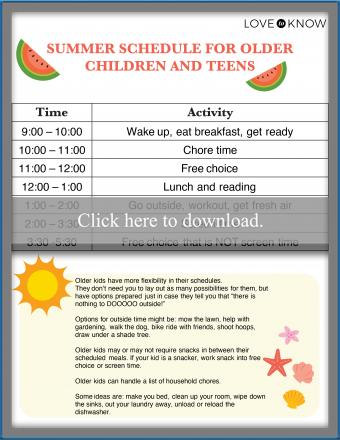 Summer Schedule for Older Children and Teens
