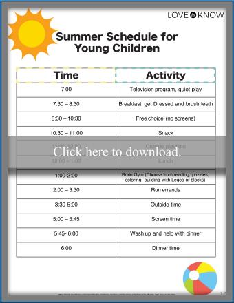 Summer Schedule for Young Children