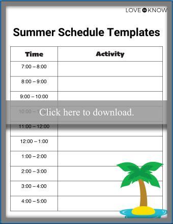Summer Schedule Templates