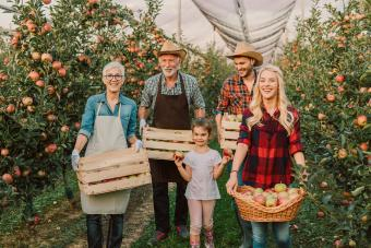 Happy big family standing at the apple orchard together