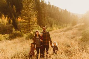 family in rural setting