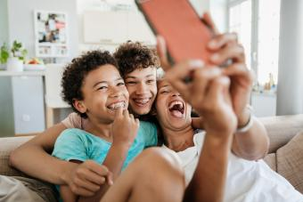 Mom Having Fun With Her Sons Taking Selfies