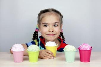 Girl choosing an ice-cream flavor