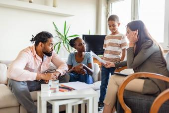 Family on a mental health therapy session