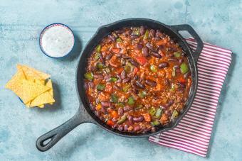 Chili con carne in skillet