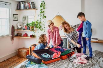 packing suitcases for holiday with children