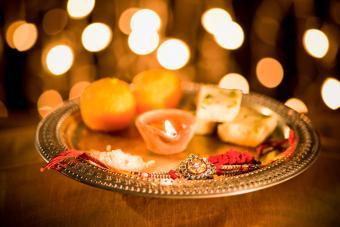 Puja thali at Raksha Bandhan
