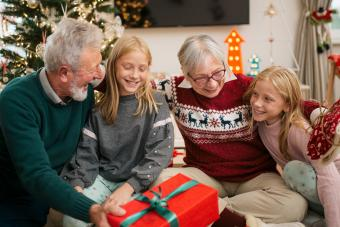 Family celebrating festivities together