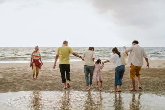 Happiness moment of family at the beach