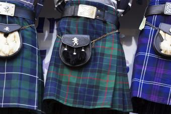 Scottish tartan kilts and sporrans