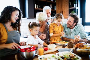 multigenerational family in the kitchen
