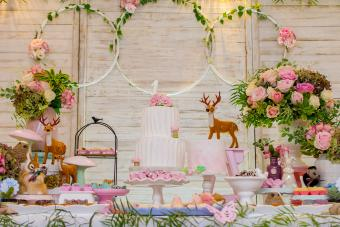 table of sweets and birthday cake