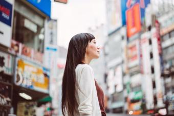 Pretty lady looking at the distance on Tokyo