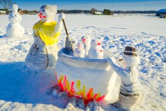 Snowman and other figures found in the field