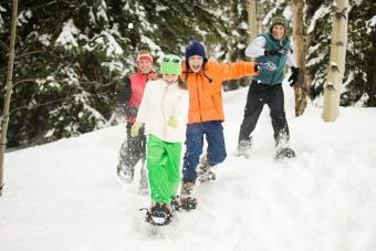 Family snowshoeing