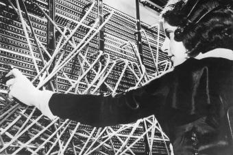 Female telephone switchboard operator 1920s