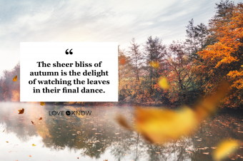 Flying Autumn Leaves with quote