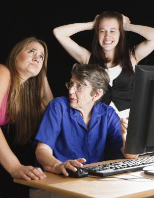 Three generations using a computer