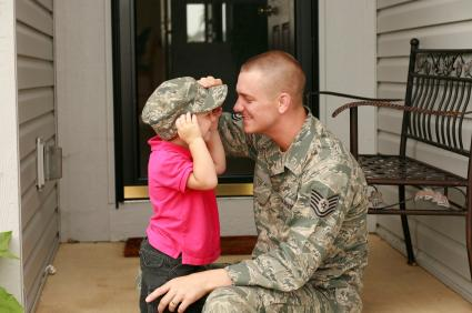 a soldier and a little girl