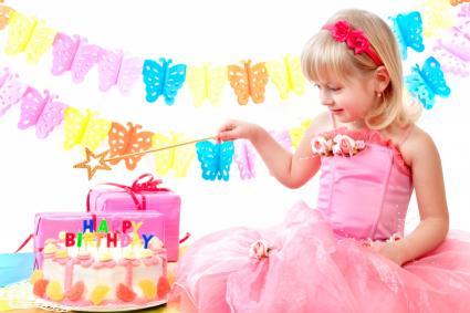 Birthday girl in pink dress