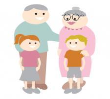 standing grandparents and grandchildren