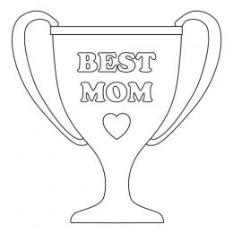 Best Mom Trophy Line Art