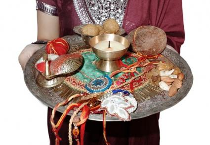 Decorated rakhi plate
