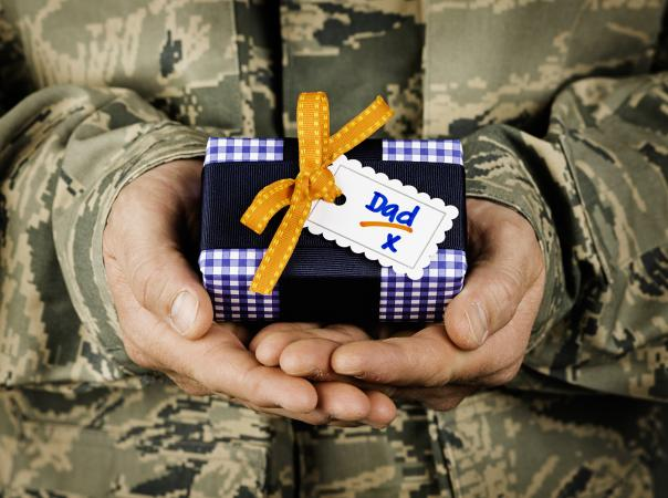 Soldier With Fathers Day Gift