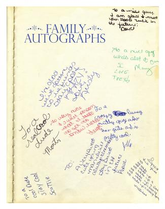 Family autographs page in family yearbook