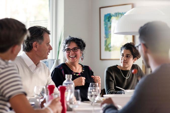 People in family meeting talking