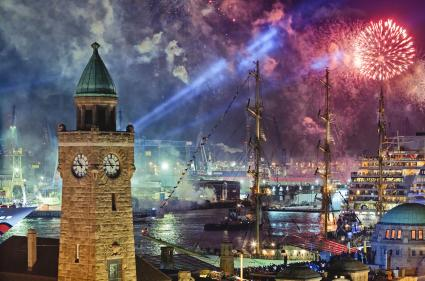 Fireworks over Hamburg, Germany