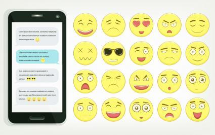 Emoticon set with smartphone