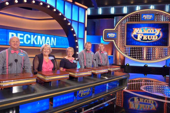 Family Feud Contestants on Set