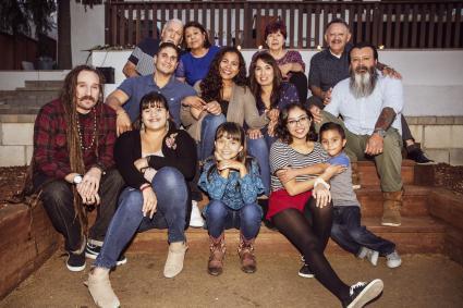 Smiling multi-generation family portrait