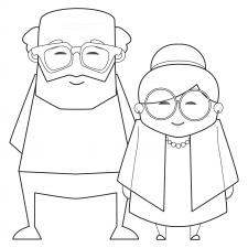 angular grandparents line drawing