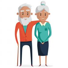 full body grandparent couple