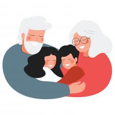 hugging grandparents and grandchildren