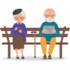 grandparents using electronic devices