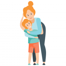 mom hugging child from behind