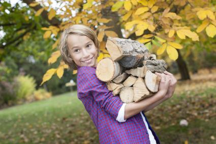 Boy holding firewood, smiling