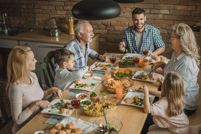 Family enjoying meal together
