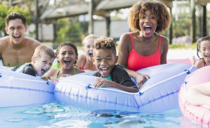 Diverse group enjoying day at the pool