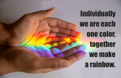 Rainbow reflected human hands