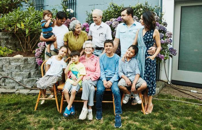 Multigenerational family preparing for family portrait