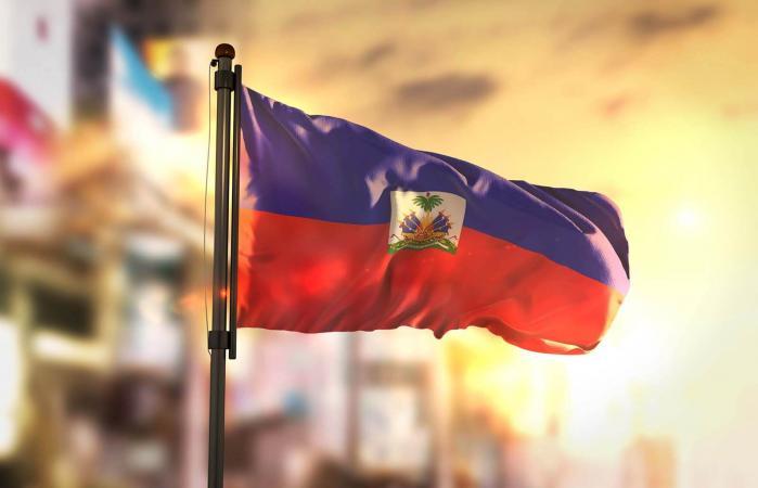 Haiti Flag Against City