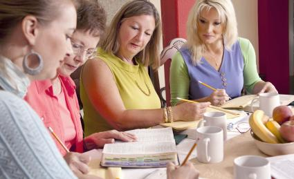 Ladies Bible Study at dining table in home
