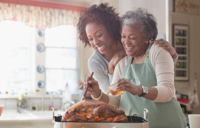 mother and daughter preparing turkey