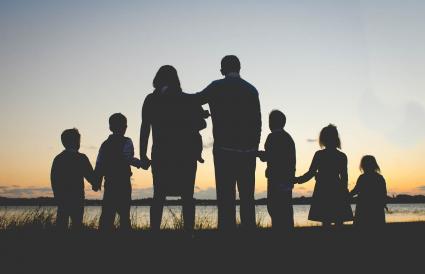 Family sunset silhouette