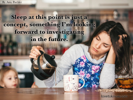 Funny Mom Quote About Sleeping: Mom Pouring Coffee On The Table With Little Kid Looking