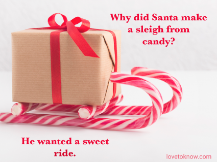 Christmas Dad Jokes And a Image of a Candy Sleigh